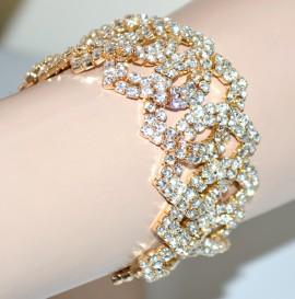 BRACCIALE donna oro dorato cristalli\strass elegante cerimonia B63