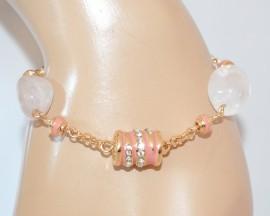 BRACCIALE donna ORO dorato elegante PIETRE ROSA strass AMETISTA perle E25