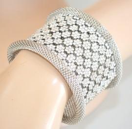 BRACCIALE donna rigido ARGENTO strass cristalli SPOSA elegante da cerimonia 50X