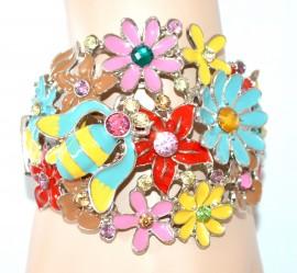 BRACCIALE donna rigido MULTICOLORE argento smaltato fiori strass cristalli bracelet NVA