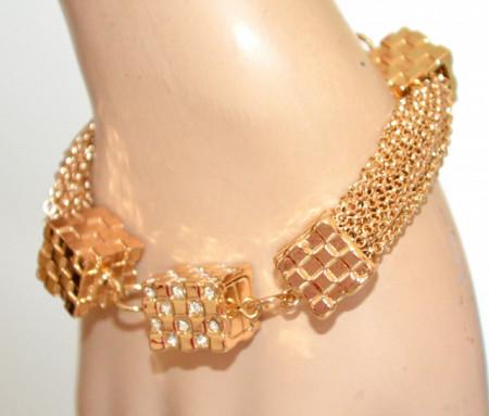 BRACCIALE ORO donna multi fili dorato charms ciondoli strass elegante cerimonia N46