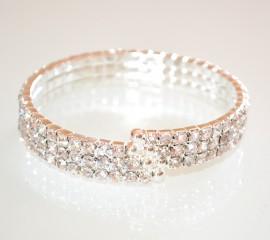 BRACCIALE RIGIDO STRASS ARGENTO donna elegante cristalli sposa 3 fili E150