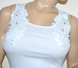 CANOTTA BIANCA donna top maglietta giromanica pizzo ricamo perle cotone elegante G16