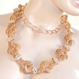CINTURA donna oro dorata metallo cristalli brillantini strass anelli elegante cerimonia 28