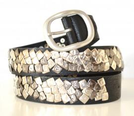 nuova collezione ff8bc 7ce30 CINTURA NERA donna chiodini borchie argento grigio eco pelle ...