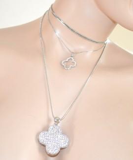 COLLANA donna LUNGA laccio GIROCOLLO argento ciondolo strass collier collar 505