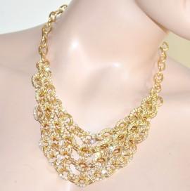 Collana girocollo collarino oro\dorata con anelli di strass luccicanti 79