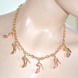 Collana girocollo donna ciondoli scarpe sandali scarpine strass brillantini catena  anelli oro dorata cerimonia stile rosato 143 abc99e7acad