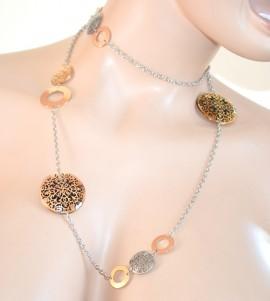 COLLANA LUNGA donna ARGENTO ciondoli oro filigrana rosa bronzo necklace 300