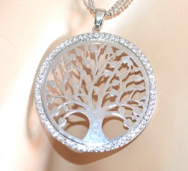 COLLANA lunga donna argento girocollo fili ciondolo albero strass idea regalo A1