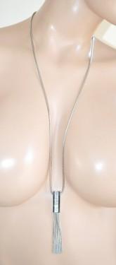 COLLANA LUNGA donna girocollo ARGENTO strass ciondolo fili cristalli collier E85