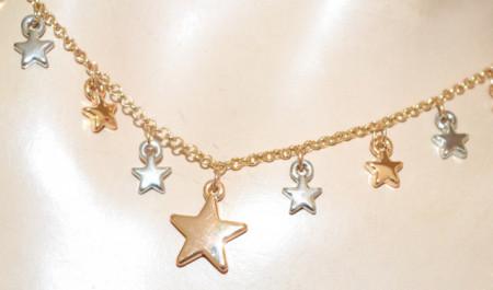 COLLANA LUNGA donna oro argento ciondoli charms stelle girocollo catena strass N62