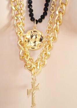 COLLANA LUNGA donna oro cristalli neri ciondolo croce catena dorata elegante Z5