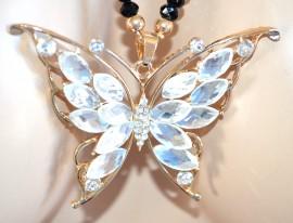 COLLANA LUNGA elegante girocollo donna ORO nero CIONDOLO sexy farfalla CRISTALLI BIANCHI strass 915
