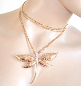 COLLANA LUNGA elegante girocollo ORO donna CIONDOLO brillantini STRASS da cerimonia dorata halsband 930