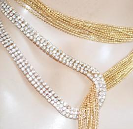 COLLANA LUNGA ORO donna dorata fili strass elegante collier schiena cerimonia H5