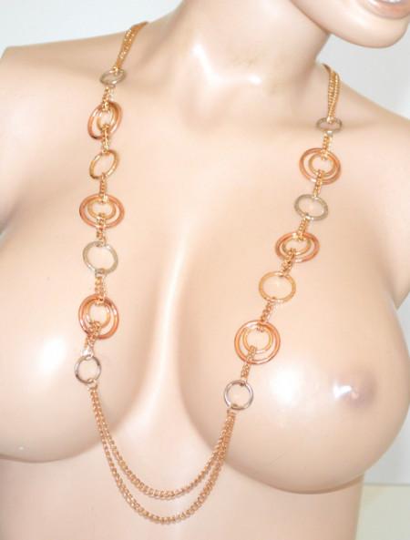 COLLANA LUNGA oro dorata donna anelli argento oro rosa catena laccio cerchi N34
