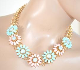 nuovo stile 05edb 26a11 COLLANA ORO FIORI donna pietre cristalli girocollo rosa cipria verde  azzurro F65