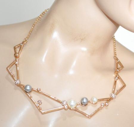 COLLANA ORO PERLE bianche grigio girocollo donna dorato rigido collier strass Halskette N92