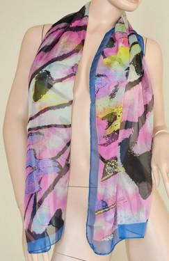 Foulard donna rettangolare 160x50 multicolore blu e rosa