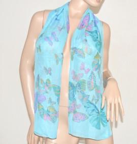 FOULARD donna seta velato stola coprispalle x vestito elegante fantasia floreale scarf  bufanda azzurro 89