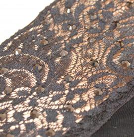 MAGLIA donna NERA sottogiacca maglietta mezza manica corta pizzo strass E140