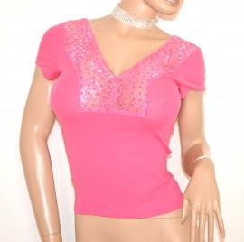 MAGLIA donna sottogiacca ROSA FUCSIA maglietta mezza manica corta sexy scollatura pizzo strass E140