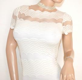 MAGLIA maglietta donna BIANCA ricamata velata sexy elegante sottogiacca da cerimonia E110
