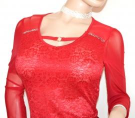 MAGLIA ROSSA PIZZO RICAMO donna manica lunga maglietta velata strass trasparente G34