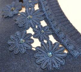 MAGLIETTA BLU donna CARDIGAN maglioncino manica lunga sottogiacca maglia scollo a V ricamato Z30