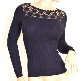 MAGLIETTA BLU donna manica lunga sottogiacca maglia ricamata girocollo F60