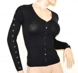 Maglietta cardigan nera donna maglia manica lunga bottoni maglioncino ricamo A29