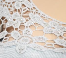 MAGLIETTA donna elegante GRIGIO maglia sottogiacca maniche lunghe ricamo floreale strass da cerimonia E40