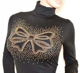 MAGLIETTA donna NERA manica lunga collo alto maglione sottogiacca felpata chiodini oro H2