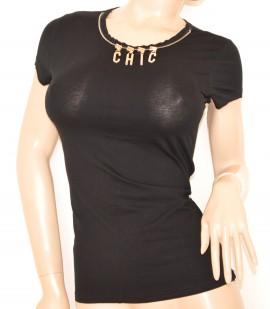 MAGLIETTA donna NERA t-shirt cotone MANICA CORTA maglia SEXY ORO sottogiacca da cerimonia elegante 45X
