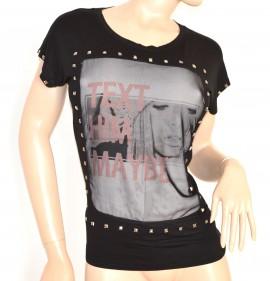 MAGLIETTA NERA donna maglia sottogiacca viscosa t-shirt girocollo chiodini cotone argento 55X
