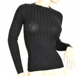 MAGLIETTA NERA donna maglione manica lunga maglia ricamata girocollo sottogiacca A23