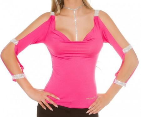 MAGLIETTA ROSA FUCSIA donna maglia strass sottogiacca manica lunga elegante AZ20
