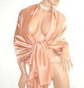 MAXI STOLA donna BEIGE ORO foulard 30% SETA elegante velata coprispalle abito da sera scialle E85