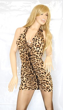 MINI ABITO Donna miniabito vestito leopardato con strass brillantini dress vestido kleid sexy schiena nuda discoteca V11