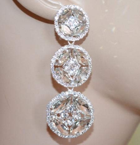 ORECCHINI ARGENTO donna cerchi pendenti lunghi cristalli strass pietre sposa eleganti S45
