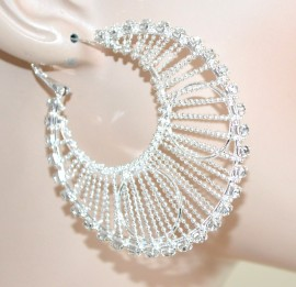 ORECCHINI ARGENTO donna cerchi strass cristalli brillantini elegante cerimonia sposa A32