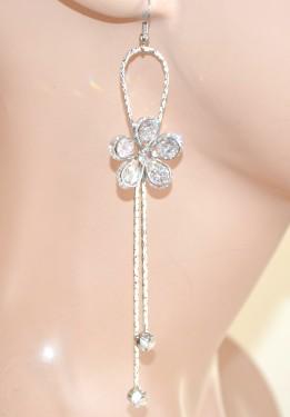 ORECCHINI ARGENTO donna pendenti fiore cristalli fili sposa elegante boucles E88