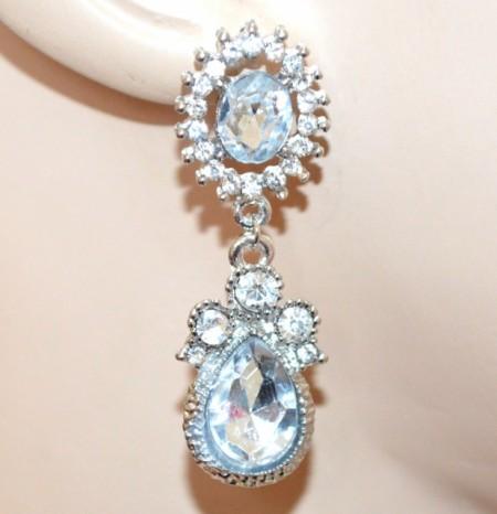 ORECCHINI argento donna strass cristalli trasparenti pendenti eleganti pendientes CC159