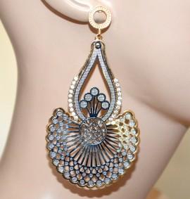 Orecchini argento oro pendenti lunghi donna metallizzati strass brillantini A33