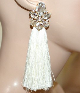 ORECCHINI BIANCHI ORO donna fili pendenti lunghi cristalli strass eleganti cerimonia A5