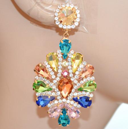 ORECCHINI CLIPS donna ORO cristalli multicolori blu rosa gialli corallo strass cerimonia N24