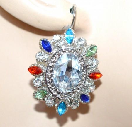 ORECCHINI donna argento cristalli strass blu azzurri rosso verde pendenti CC98