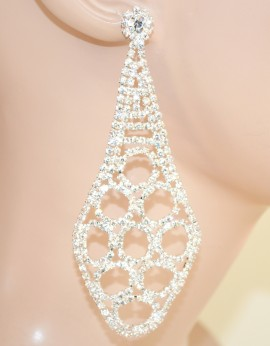 ORECCHINI donna CRISTALLI strass ARGENTO eleganti da SPOSA cerimonia matrimonio 85X