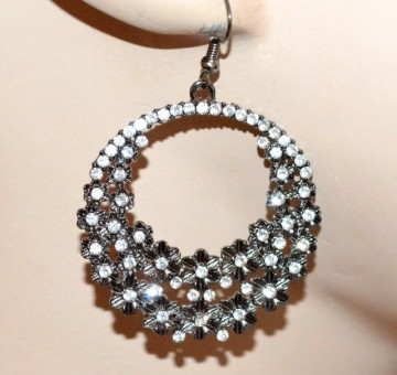 ORECCHINI donna grigio cerchi pendenti fiori strass brillantini earrings CC74